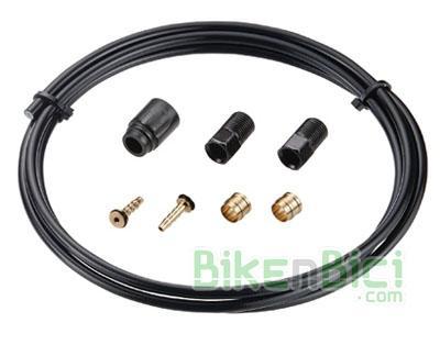 Frenos Kit reparación TEKTRO tubo 1600mm negro Mountain Bike MTB - Kit de reparación para frenos de disco hidráulicos Tektro compuesto por un latiguillo para freno hidráulico negro de 1600mm y terminales para reparación.