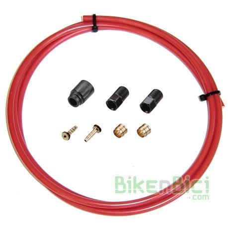 Frenos Kit reparación TEKTRO tubo 1600mm rojo Mountain Bike MTB - Kit de reparación para frenos de disco hidráulicos Tektro compuesto por un latiguillo para freno hidráulico rojo de 1600mm y terminales para reparación.