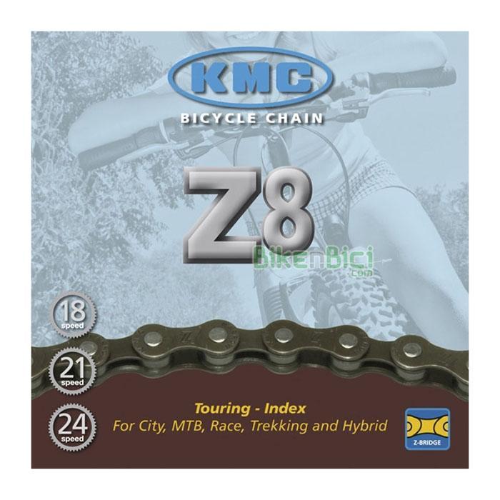Cadenas KMC Z8 116 links Mountain Bike MTB Trekking - Cadena compatible con bicicletas de 7/8 velocidades traseras con cadena IG. Para bicicletas urbanas, Mountain Bike, Carretera, Trekking e Hibridas. 116 eslabones.