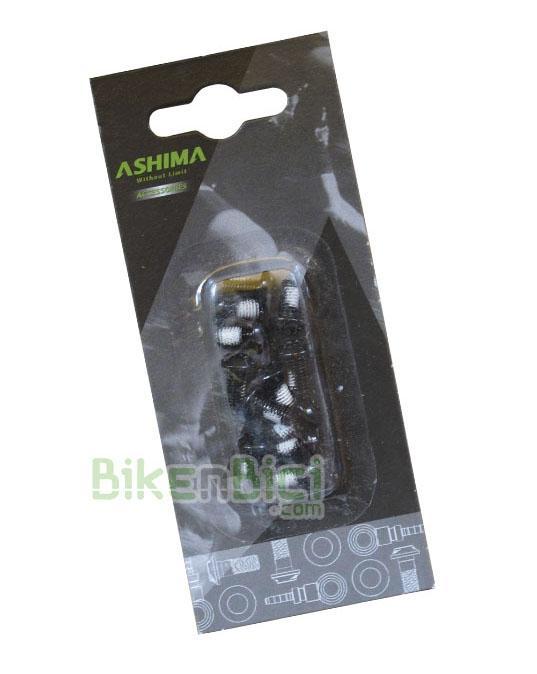 Tornillería Biketrial Trial ASHIMA TORX 6mm discos NEGROS (12 unidades) - Kit de 12 tornillos Torx de 6mm de la marca Ashima para fijar los discos de freno en el buje. Fabricados en acero. Compatibles con todos los bujes para freno de disco con sistema internacional standard de 6 tornillos. Acabado en color negros.