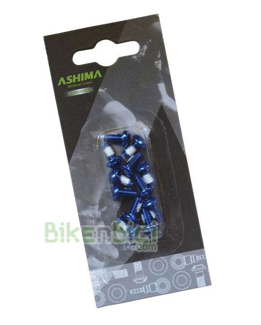Tornillería Biketrial Trial ASHIMA TORX 6mm discos AZULES (12 unidades) - Kit de 12 tornillos Torx de 6mm de la marca Ashima para fijar los discos de freno en el buje. Fabricados en acero. Compatibles con todos los bujes para freno de disco con sistema internacional standard de 6 tornillos. Acabado en color azul.