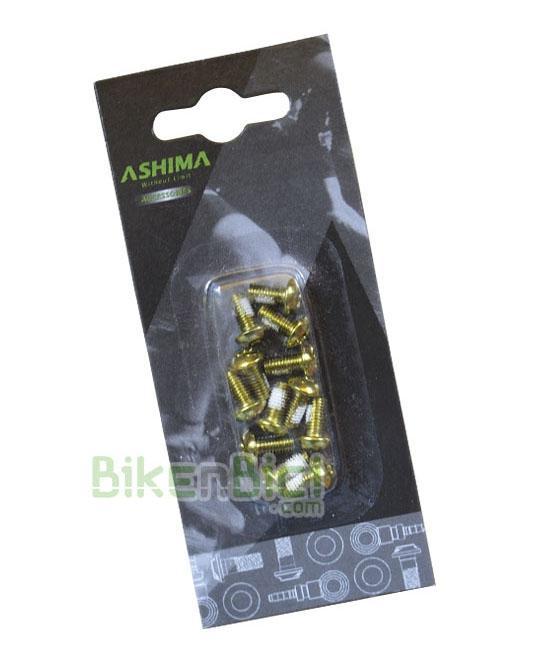 Tornillería Biketrial Trial ASHIMA TORX 6mm discos DORADOS (12 unidades) - Kit de 12 tornillos Torx de 6mm de la marca Ashima para fijar los discos de freno en el buje. Fabricados en acero. Compatibles con todos los bujes para freno de disco con sistema internacional standard de 6 tornillos. Acabado en color dorado.