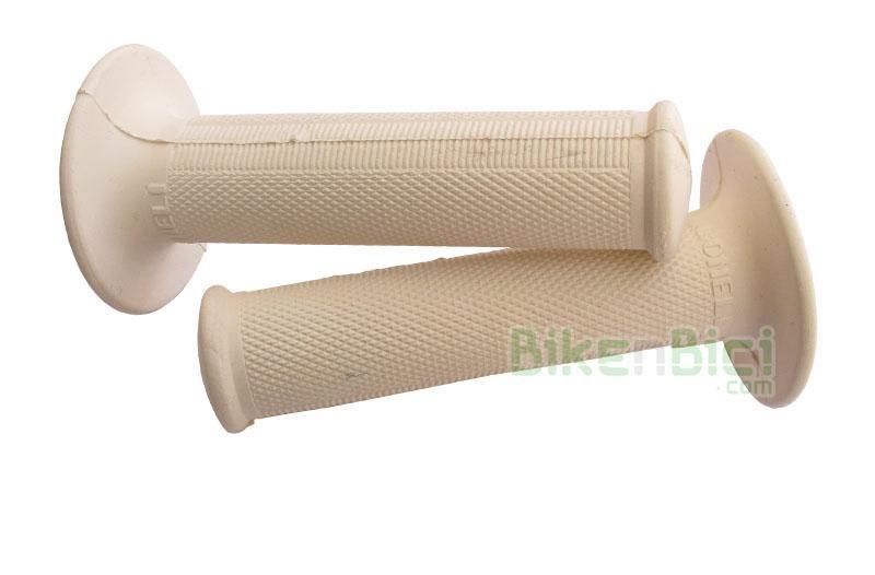 Puños Trialsin GONELI TRIAL blancos - Puños originales Goneli trial montados en varios modelos de Trialsin de la marca Monty. Diámetro interior de 24mm (manillar bicicleta es de 22mm). Modelo 22mm sólo disponible en color negro. Producto completamente nuevo.