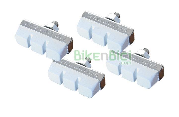Pastillas freno Trialsin blancas 4 unidades  - Conjunto de 4 pastillas de freno de color blanco. Para sistemas de freno de herradura (tipo Olimpic Balon). Medida de la pastilla 40mm.