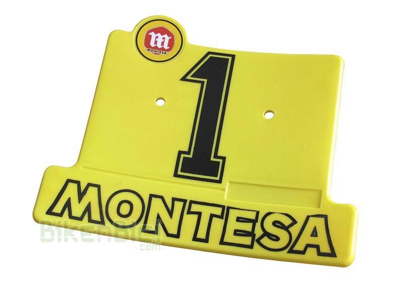 Placas portanúmeros Trialsin MONTESA número 1 - Placa portanúmeros Montesa montada en algunos modelos de Montesa de Trialsin (T-15 y T-05). Producto completamente nuevo. Incluye calca