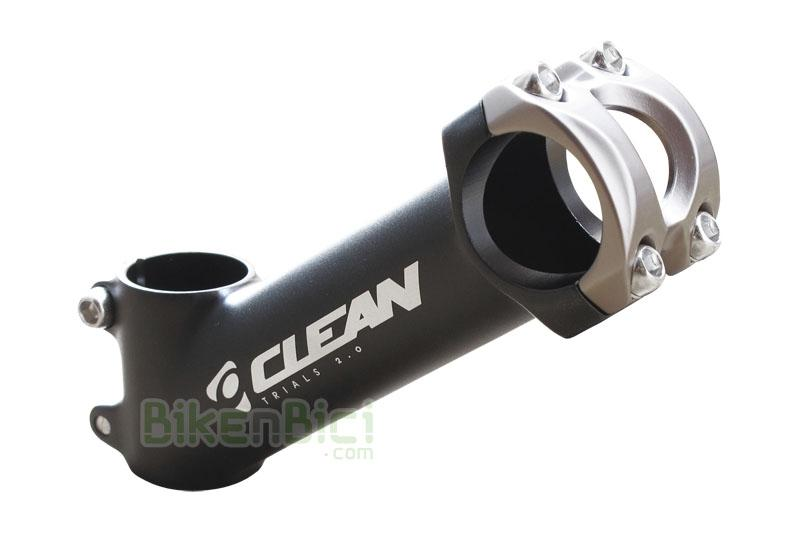 Potencia Trial CLEAN KIDS Biketrial 130mm 35º - Potencia original de la marca Clean, modelo forjado para bicicletas de Biketrial y Trial. Medida de 130mm de longitud y 35º de inclinación. Modelo para niños. Medida de manillar de 31.8mm (oversize). Abrazadera manillar 4 tornillos M5. Para horquillas de 1-1/8