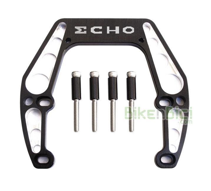 Frenos Trial GORILA ECHO 4 TORNILLOS Biketrial aluminio negro - Gorila potenciador de frenada de la marca Echo para bicicletas de Trial y Biketrial que usan sistema de freno hidráulico de llanta, tipo Magura HS33. Fabricado en aluminio 7075-T6, se caracteriza por anclarse a los 4 tornillos del freno, aportando una gran rigidez sobretodo para la rueda trasera. Medida para cuadros de 92 a 105 mm de ancho entre soportes de freno. 109 gramos de peso (tornillos y casquillos incluidos).