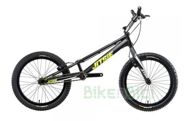 Bicicletas Trial JITSIE VARIAL 20 PULGADAS 920mm FRENO DE LLANTA Biketrial - Bicicleta Jitsie Varial de 20 pulgadas para Trial y Biketrial. Chasis 920mm de largo de aluminio aeroespacial 6061-T6. Horquilla Jitsie Varial 350mm. Frenos de llanta Magura HS11. Componentes de Jitsie de alta calidad. Acabado en color negro con logos Jitsie en blanco y amarillo flúor. Peso total 7,200 kg.