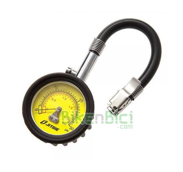 Herramientas Trial MANÓMETRO PRESIÓN NEUMÁTICOS Biketrial profesional - Manómetro de presión profesional de la marca Jitsie, para bicicletas de Trial y vehículos en general. Escala de 0 a 2 kg/cm2 (bar). Reloj de fácil lectura. Tubo de goma flexible para poder acceder a válvulas entre radios que son de difícil acceso. Boquilla para válvulas Schrader (gruesa), con prisionero para fijarla bien sobre la válvula.