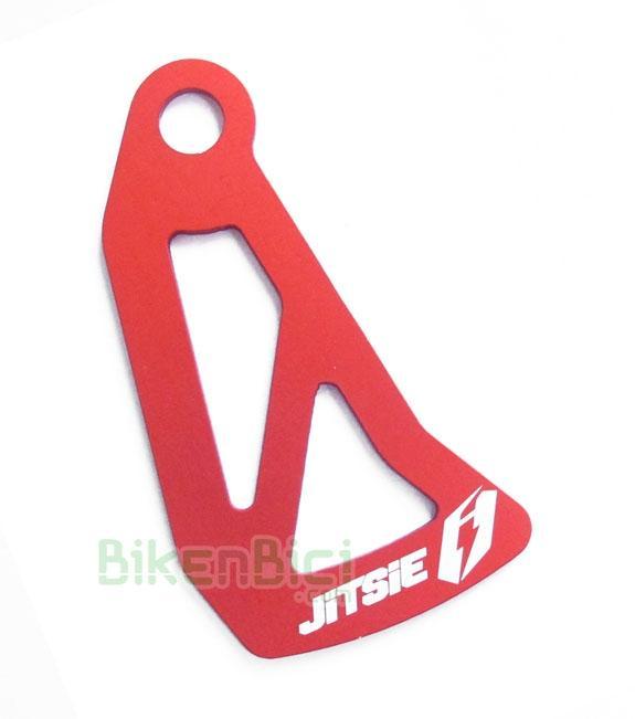 Protector de disco JITSIE BI-14 interno aluminio rojo - Protector de disco de la marca Jitsie, interno, para bicicletas de Trial y Biketrial. Compatible con todos los chasis del mercado. Protege tus discos de golpes y rascadas. Acabado en anodizado rojo mate y logotipos grabados a láser. Fabricado en aluminio 7075-T6. Para buje con eje de 10mm. de diámetro. 3mm de grosor. Para discos de 160mm de diámetro. 20 gramos.