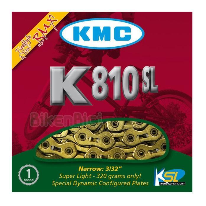 Cadenas Trial KMC K810SL SUPERLIGHT Biketrial dorada - La cadena KMC K810SL superlight es una de las cadenas más ligeras y a la vez resistentes del mercado. Tratamiento externo especial con