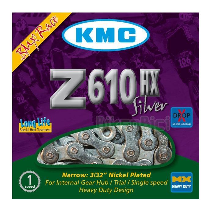 Cadenas Trial KMC Z610HX LIGHT Biketrial plata - La cadena KMC Z610HX light es la que ofrece la mejor relación peso/resistencia. Su estructura en acero le confiere una alta resistencia contra los esfuerzos y tensiones repetitivos. Se entrega con un enganche rápido específico para cerrarla. Color plata.
