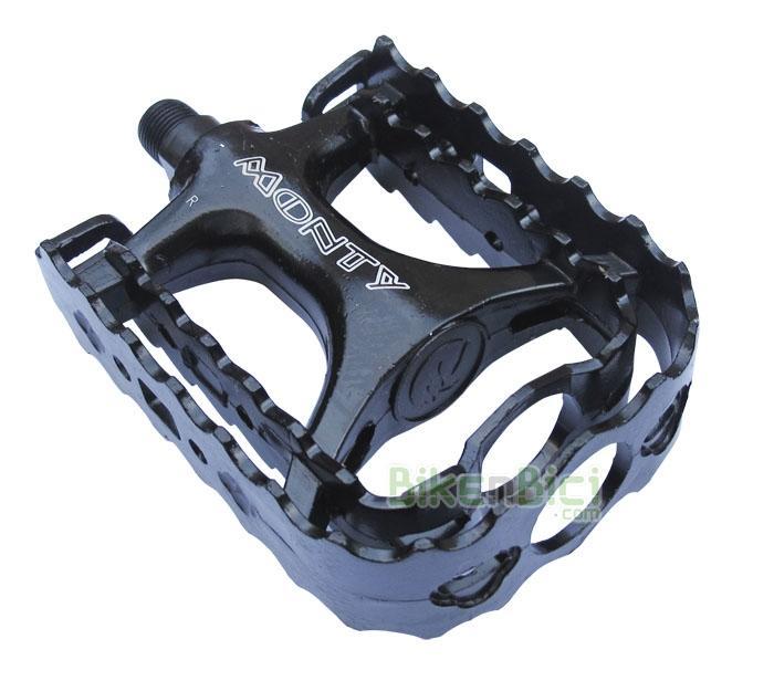 Pedales aluminio MONTY MONOBLOC Biketrial Trial - Pedales tipo herradura de aluminio para Biketrial y Trial. Fabricado en una sola pieza (cuerpo y herradura). Color negro. Rosca de 9/16
