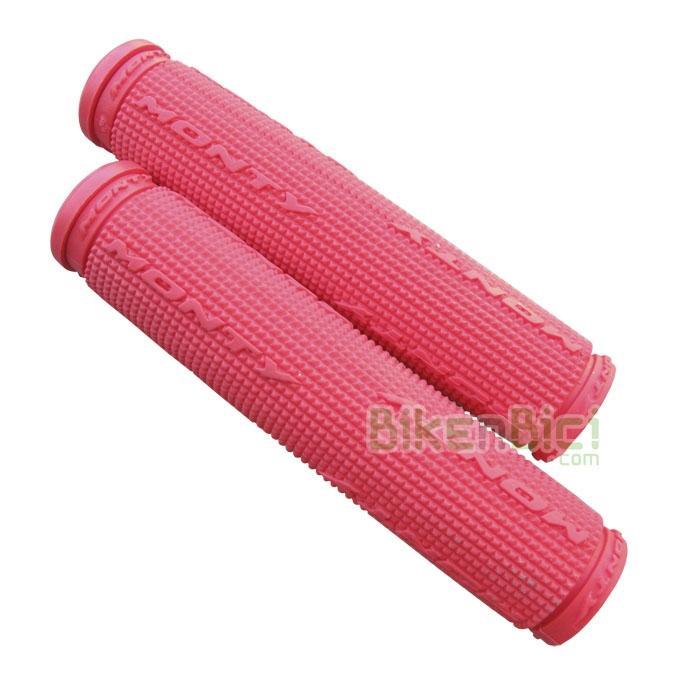 Puños Trial MONTY GOMA Biketrial rojos - Puños de goma roja de la marca Monty para Biketrial y Trial. Ofrecen la máxima suavidad y confort, al estar fabricados en goma de alta densidad. Color negro y logotipo Monty. Incluyen tapones de plástico para manillar.