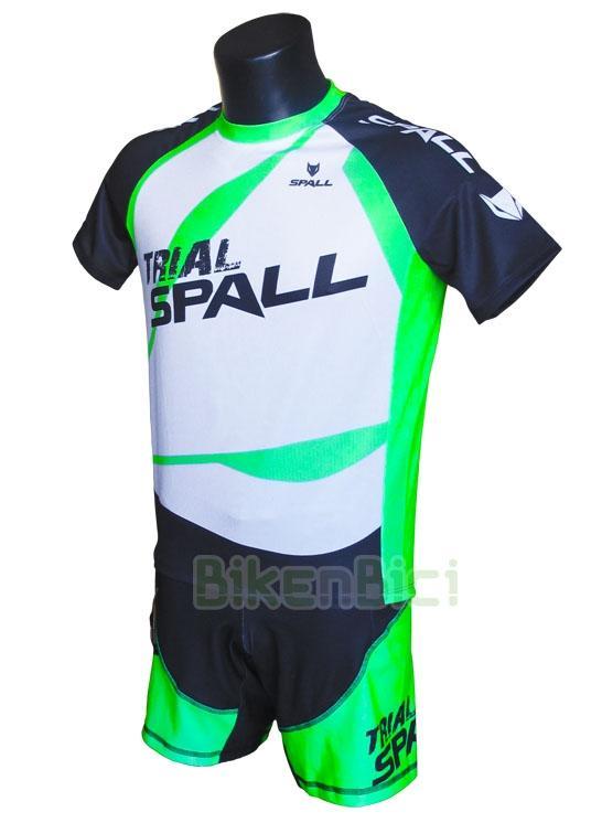 Equipación Trial SPALL TECHNIC GREEN Biketrial - Conjunto de camiseta y pantalón técnicos de la marca Spall. Modelo