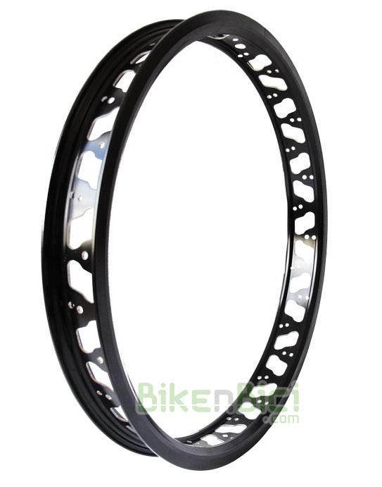 Llantas Biketrial Trial TRY-ALL NOWAR K2 trasera negra - Llanta trasera para Biketrial Trial Try-All Nowar K2. Fabricada en aluminio 6061-T6. Ancho de 48mm para garantizar una perfecta estabilidad del neumático, incluso con poca presión. Anodizada en color negro. Para neumáticos de 19