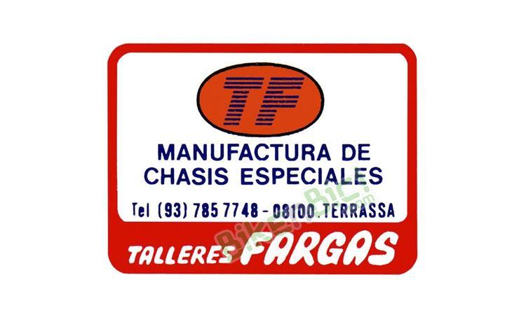 CALCA TALLERES FARGAS - Calca de las empresa Talleres Fargas (fabricante de los chasis Monty en sus inicios), usada en varios modelos de Monty, como la T-19 aero, T-11 aero, T-19 serie 2, T-219 1987, ... PRODUCTO EXCLUSIVO BIKENBICI.COM