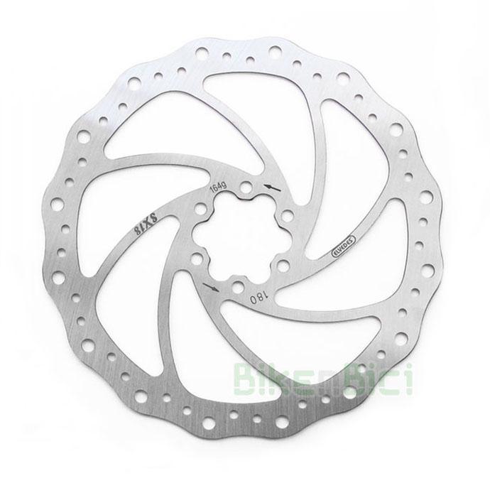 Frenos Trial DISCO ELVEDES SX18 180mm Biketrial - Disco de freno SX18 de la marca holandesa Elvedes. Acero inoxidable de alta calidad. 180mm de diámetro. 1.8mm de grosor. Para freno delantero y trasero. Sistema internacional de 6 tornillos (ISO). Incluye tornillos para fijación al buje. 158 gramos.
