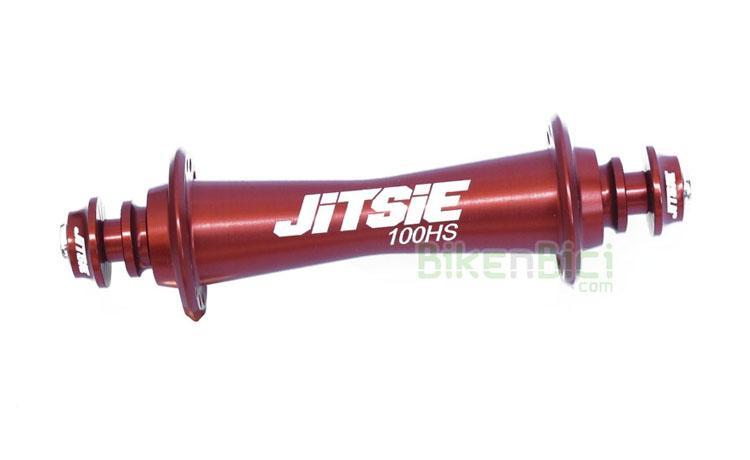 Bujes Trial JITSIE RACE HS33 100mm 28H Biketrial delantero - Buje delantero Jitsie Race para frenos de llanta. Diseñado y fabricado en Europa. Cuerpo fabricado en aluminio CNC 6061-T6. Eje hueco fabricado en aluminio 7075-T6 de 10mm. Compatible con llantas de 28 radios. Exclusivamente para frenos hidráulicos de llanta o V-Brake. Ancho de 100mm (universal). Su peso es de 56 gramos (+18 gramos de tornillos y arandelas). El buje más ligero del mercado.