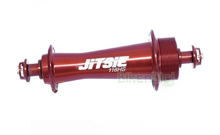 Bujes Trial JITSIE RACE HS33 116mm 32H Biketrial trasero - Buje trasero Jitsie Race para frenos de llanta. Diseñado y fabricado en Europa. Cuerpo fabricado en aluminio CNC 6061-T6. Eje hueco fabricado en aluminio 7075-T6 de 10mm. Compatible con llantas de 32 radios. Exclusivamente para frenos hidráulicos de llanta o V-Brake. Ancho de 116mm, compatible con la mayoría de cuadros del mercado. Su peso es de 99.5 gramos (+16 gramos de tornillos y arandelas). El buje más ligero del mercado.