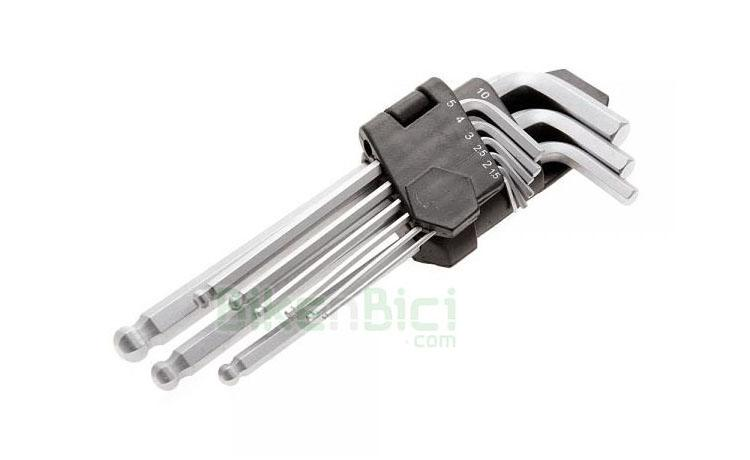 Herramientas Trial LLAVES ALLEN SET Biketrial  - Set de llaves allen para las reparaciones más habituales de la bicicleta de trial. Se entregan en un práctico soporte para llevarlas todas juntas. Dispone de las medidas más habituales. Parte inferior de bola para aflojar y apretar tornillos en posiciones complicadas. Medidas que componen el set: 1,5-2-2,5-3-4-5-6-8-10. Acabadas en plata.