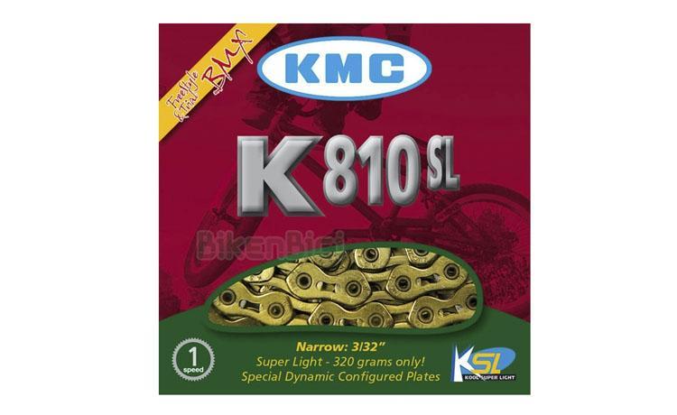 Cadenas Trial KMC 810 SUPERLIGHT Biketrial dorada - La cadena KMC K810SL superlight es una de las cadenas más ligeras y a la vez resistentes del mercado. Tratamiento externo especial con