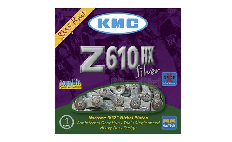 CADENA KMC Z610HX LIGHT (72 ESLABONES) - La cadena KMC Z610HX light es la que ofrece la mejor relación peso/resistencia. Su estructura en acero le confiere una alta resistencia contra los esfuerzos y tensiones repetitivos. Se entrega con un enganche rápido específico para cerrarla. Color plata.