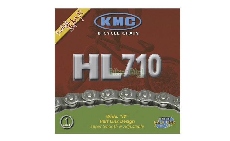Cadenas KMC HL710 100 links media malla 1v. BMX Freestyle - Cadena de media malla para bicicletas de BMX y Free, o bicicletas de 1 velocidad. 100 pasos y acabado cromado. Sistema media malla para máximo ajuste.