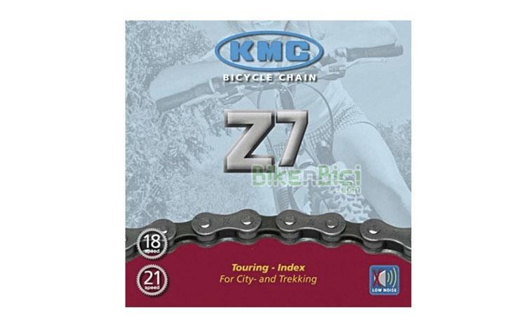 Cadena KMC Z7 116L - Cadena para bicicletas de City y Trekking de 6/7 velocidades. Compatible con las bicicletas de Trial de todo tipo. 116 pasos. Acabado niquelado. Diseño para alta resistencia.