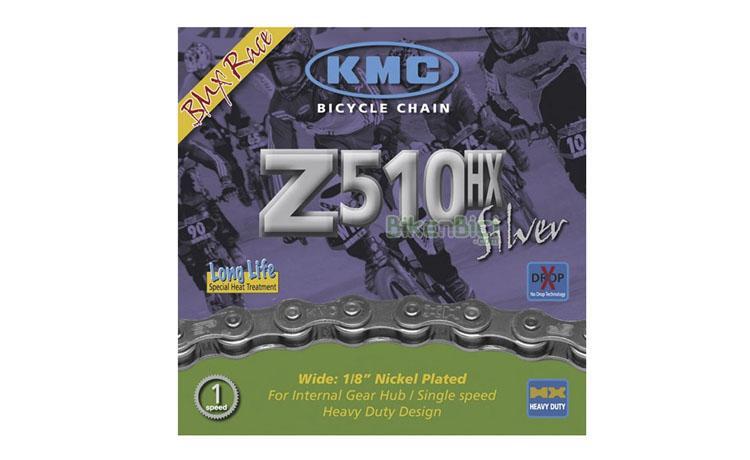 CADENA KMC Z510HX 112L - Cadena para bicicletas de BMX Race, de cambio buje interno y spinning. Para bicicletas de 1 velocidad. 112 pasos. Acabado niquelado. Diseño para alta resistencia.