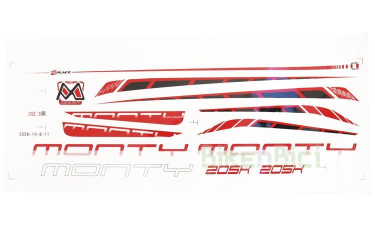 Calcas Trial conjunto MONTY 205K Biketrial - Conjunto de calcas original del modelo Monty 205K. Incluye todas las calcas que monta este modelo de bicicleta de Biketrial.