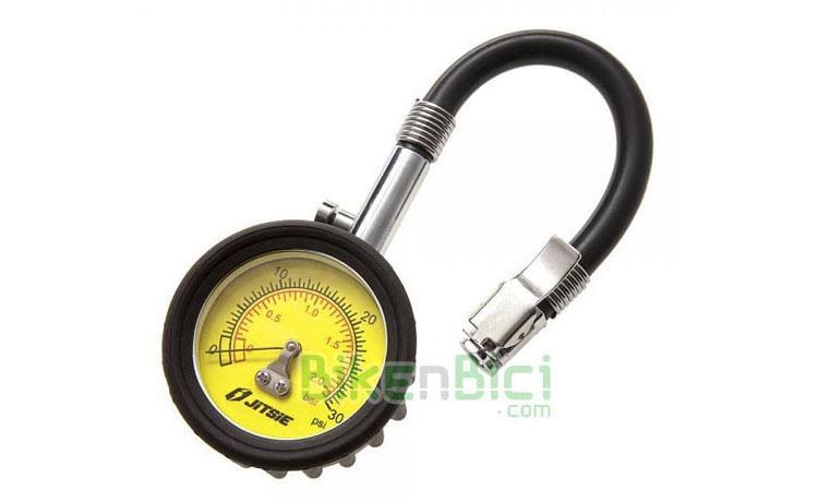 Herramientas Trial MANÓMETRO PRESIÓN JITSIE Biketrial - Manómetro de presión profesional de la marca Jitsie, para bicicletas de Trial y vehículos en general. Escala de 0 a 2 kg/cm2 (bar). Reloj de fácil lectura. Tubo de goma flexible para poder acceder a válvulas entre radios que son de difícil acceso. Boquilla para válvulas Schrader (gruesa), con prisionero para fijarla bien sobre la válvula.