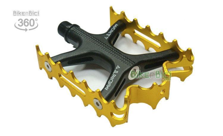 PEDALES MONTY PRORACE SUPERLIGHT DORADOS - Pedales Monty ProRACE Superlight para bicicletas de Biketrial, Trial y BMX. Fabricados en aluminio 7075. Herradura especial en aluminio 7075, desmontable para cambiar una vez gastada. 155 gramos de peso cada unidad. Fijación directa en el centro del eje con llave allen 8mm.
