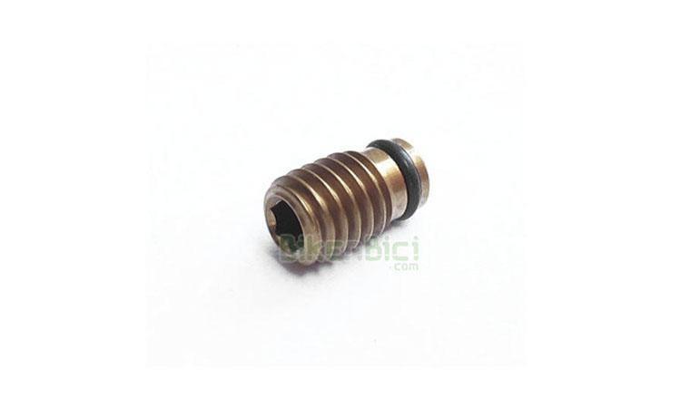 RACING LINE TORNILLO PURGADO BOMBA - Tornillo de purgado de la bomba original Racing Line para todas bombas de freno de la marca. Fabricado en titanio TC4. Mecanizado en CNC en aluminio 7075-T6. Únicamente compatible con los frenos de la marca Racing Line. Anodizado en color dorado. 0.2 gramos de peso.